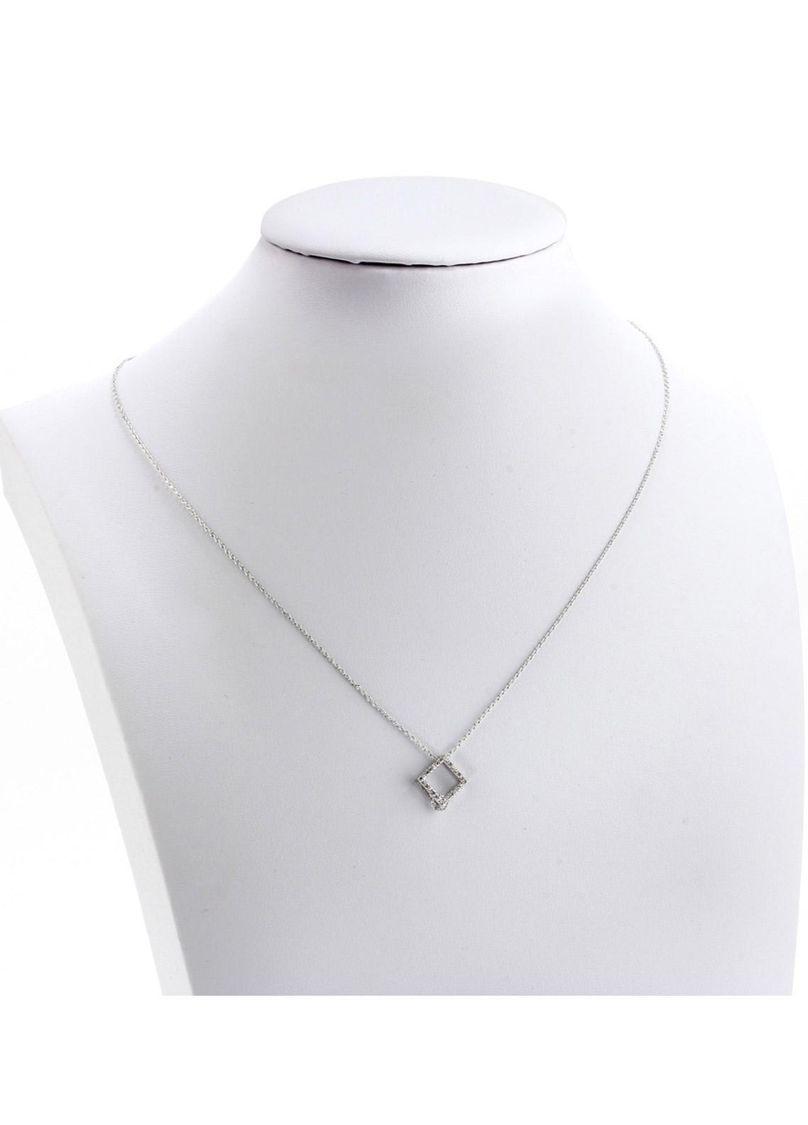 Anna Grace London by Silk Avenue Silver Plated Crystal Square Necklace AGN0040 - Ladies Jewellery