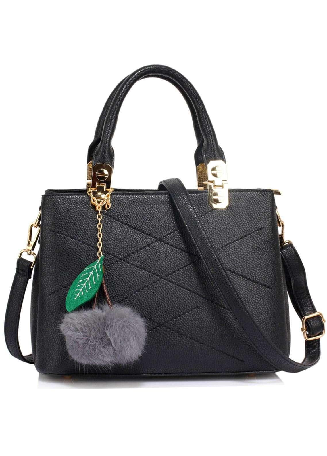 Anna Grace London Faux Leather Shoulder Bags for Woman - Black