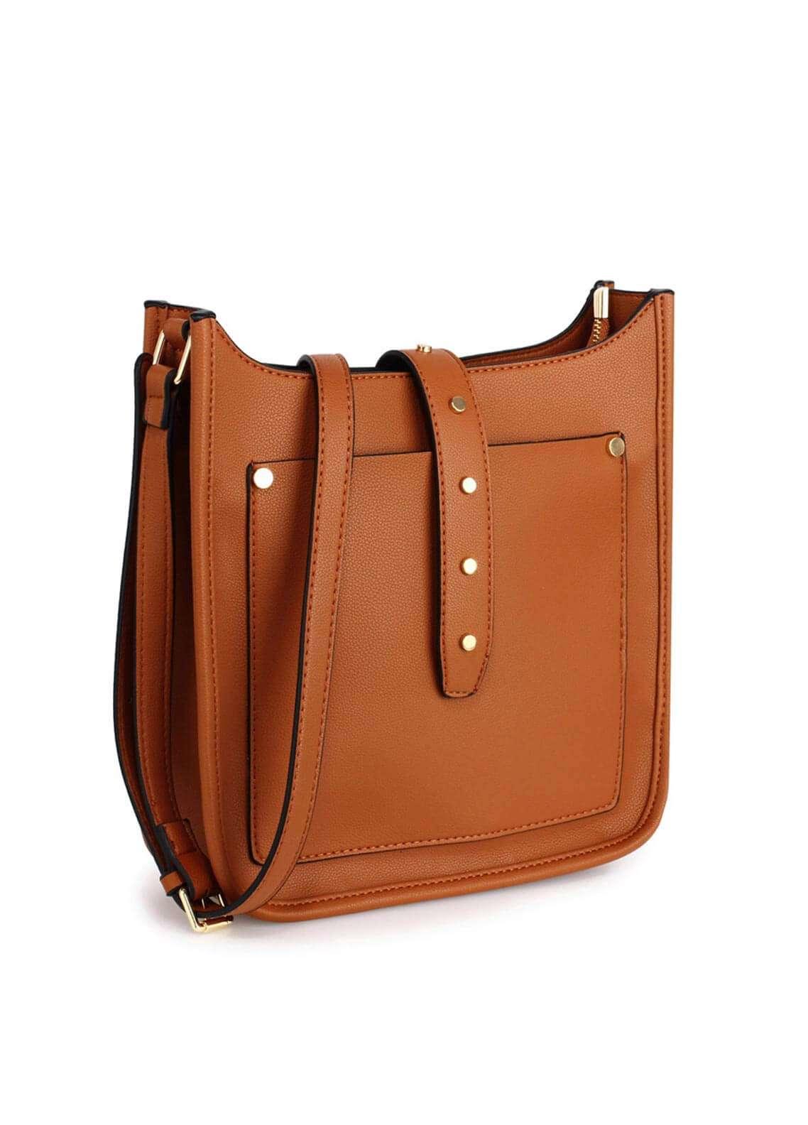 Anna Grace London Faux Leather Shoulder  Bags for Woman - Brown