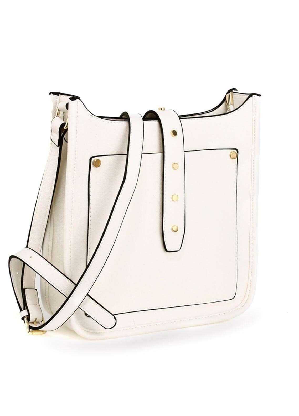 Anna Grace London Faux Leather Shoulder  Bags for Woman - White