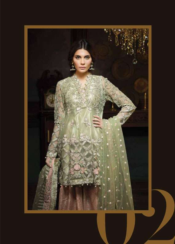 Aayra Embroidered Zari Net Unstitched 3 Piece Suit AR18C 02