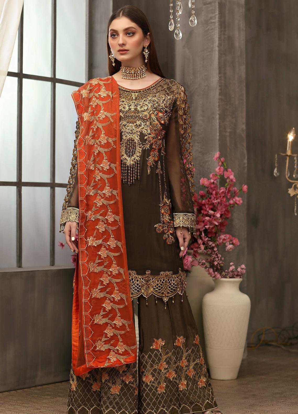 Areesha Embroidered Chiffon Unstitched 3 Piece Suit ARE20LC 1 - Luxury Collection