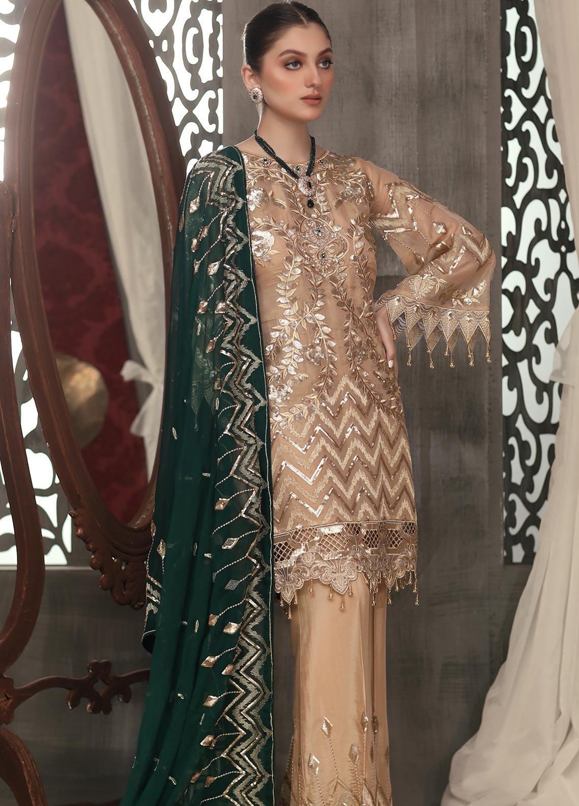 Areesha Embroidered Chiffon Unstitched 3 Piece Suit ARE20LC 5 - Luxury Collection