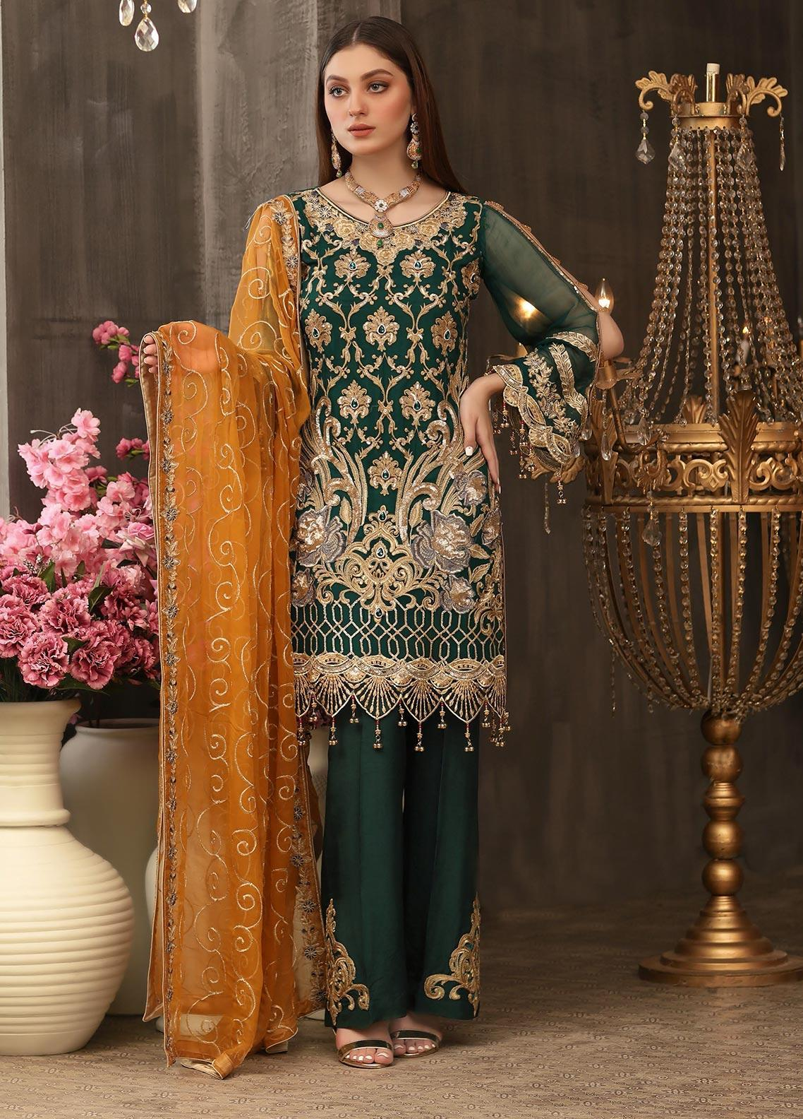 Areesha Embroidered Chiffon Unstitched 3 Piece Suit ARE20LC 7 - Luxury Collection