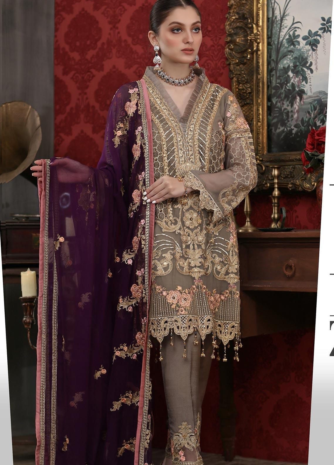 Areesha Embroidered Chiffon Unstitched 3 Piece Suit ARE20LC 8 - Luxury Collection