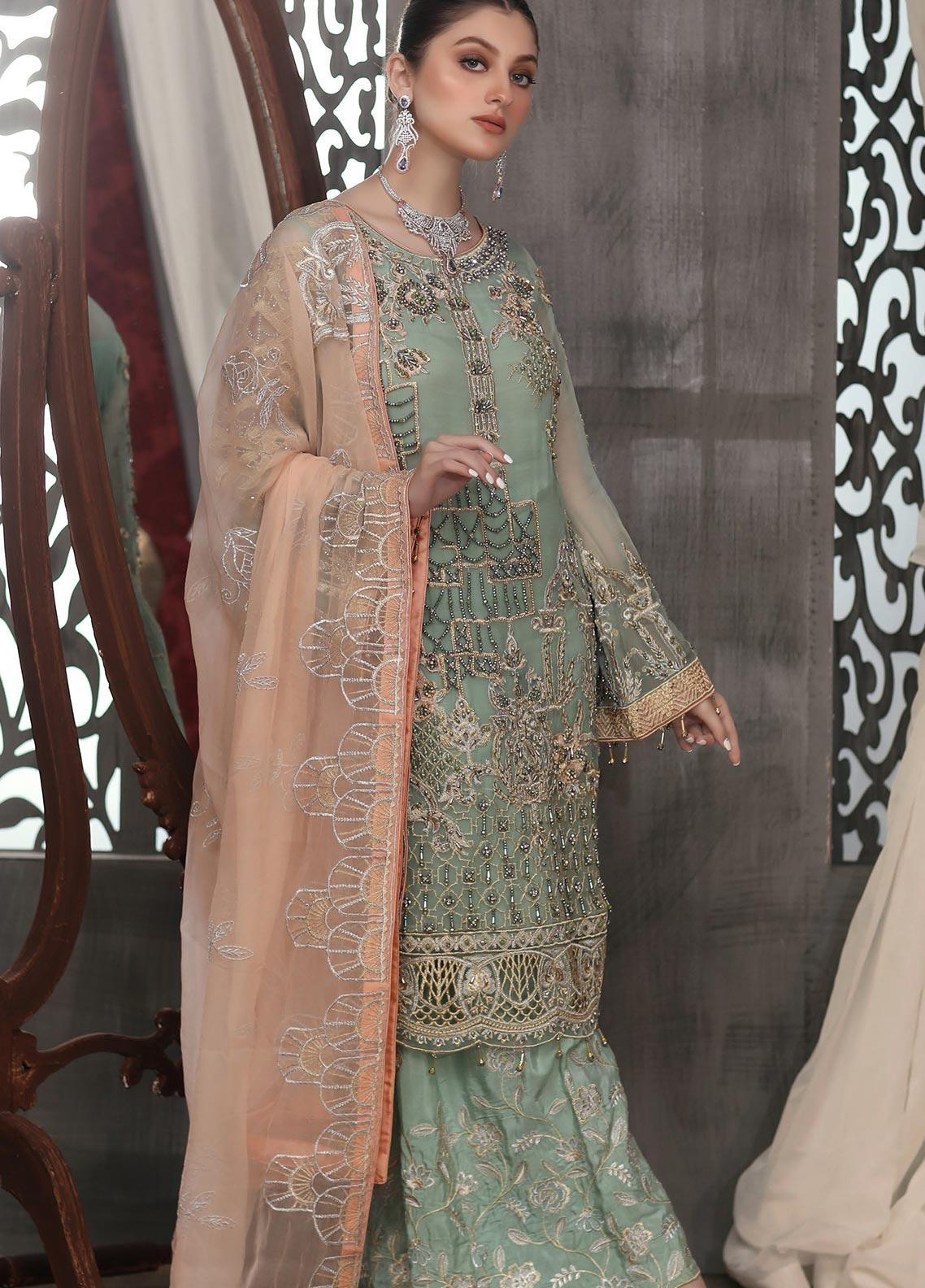 Areesha Embroidered Chiffon Unstitched 3 Piece Suit ARE20LC 9 - Luxury Collection