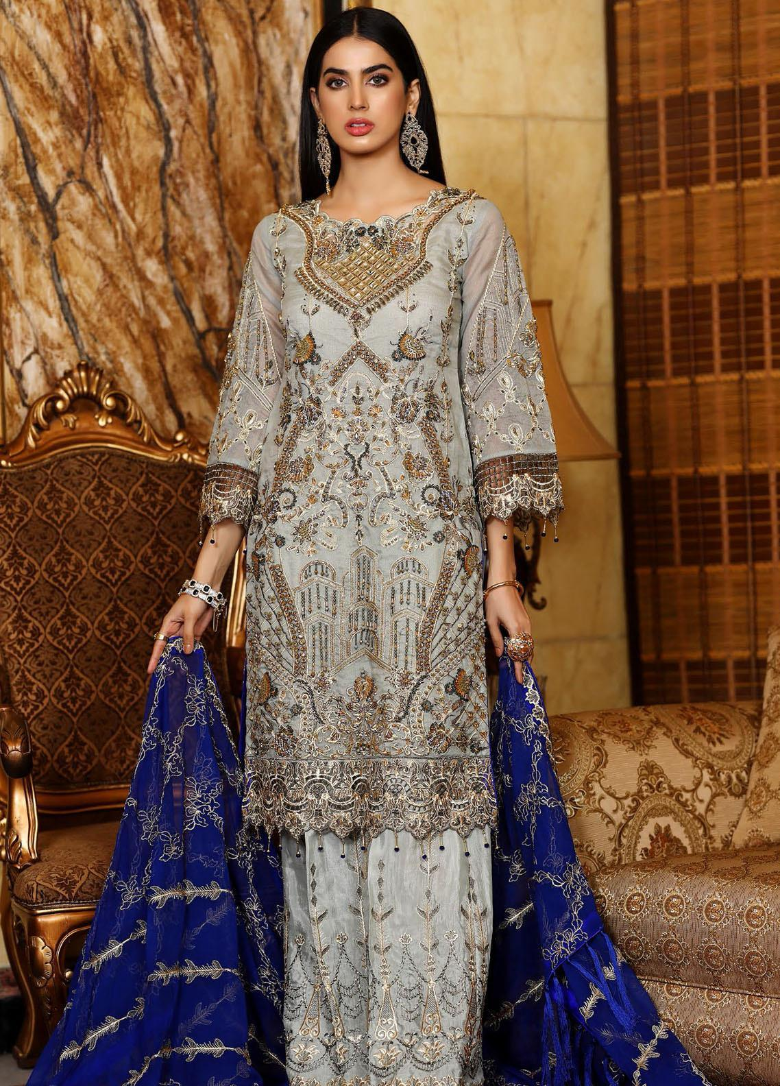 Areesha Embroidered Chiffon Unstitched 3 Piece Suit AR21C 04 Grey Blue - Luxury Chiffon Collection