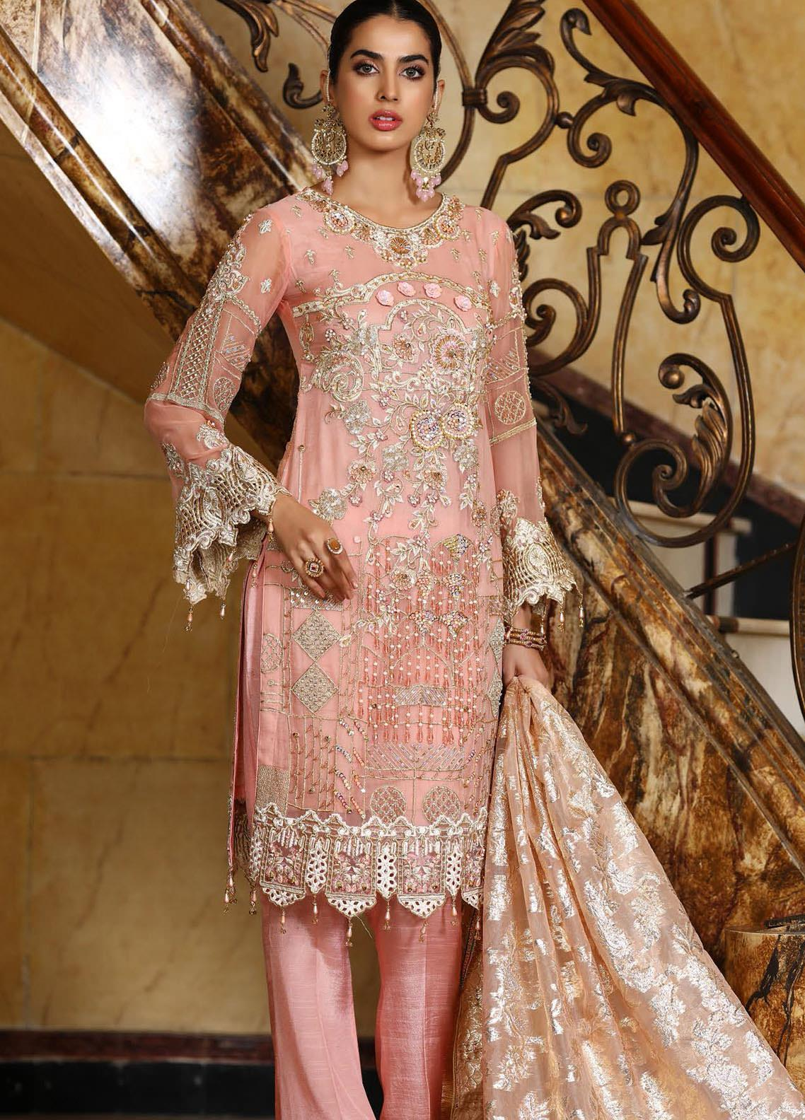 Areesha Embroidered Chiffon Unstitched 3 Piece Suit AR21C 07 Tea Pink - Luxury Chiffon Collection