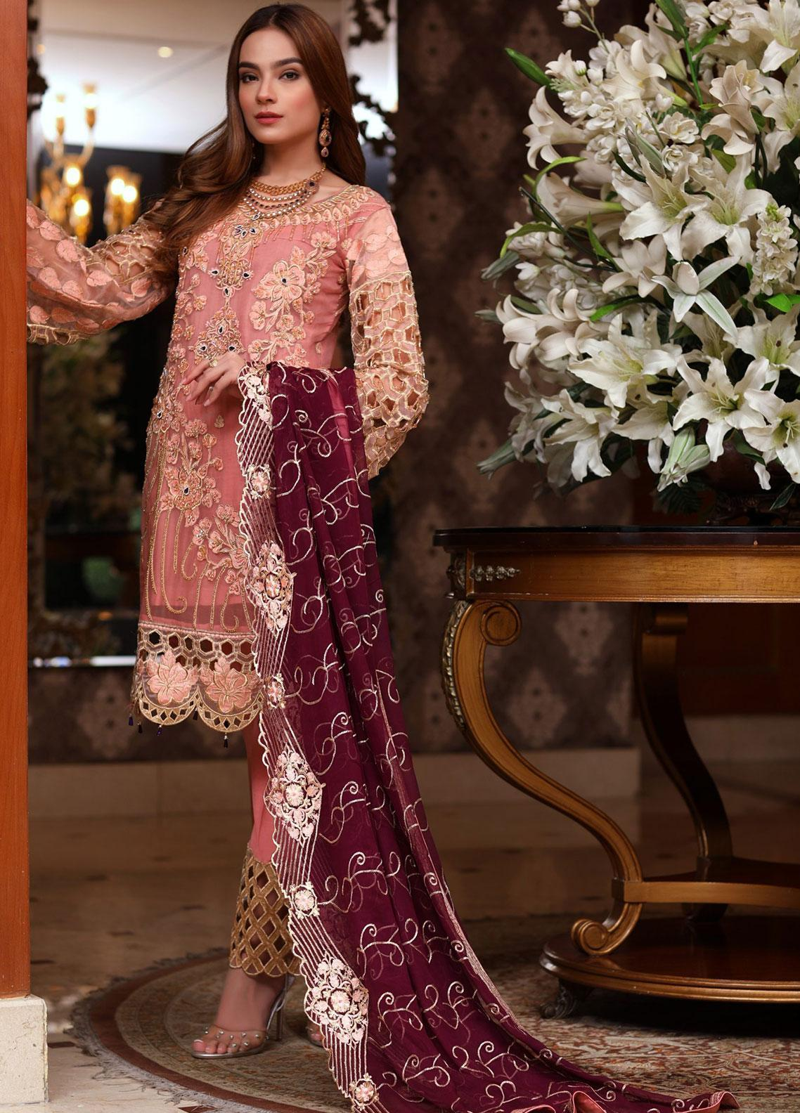 Areesha Embroidered Chiffon Unstitched 3 Piece Suit ARE20-C6 03 Tea Pink Purple - Luxury Collection