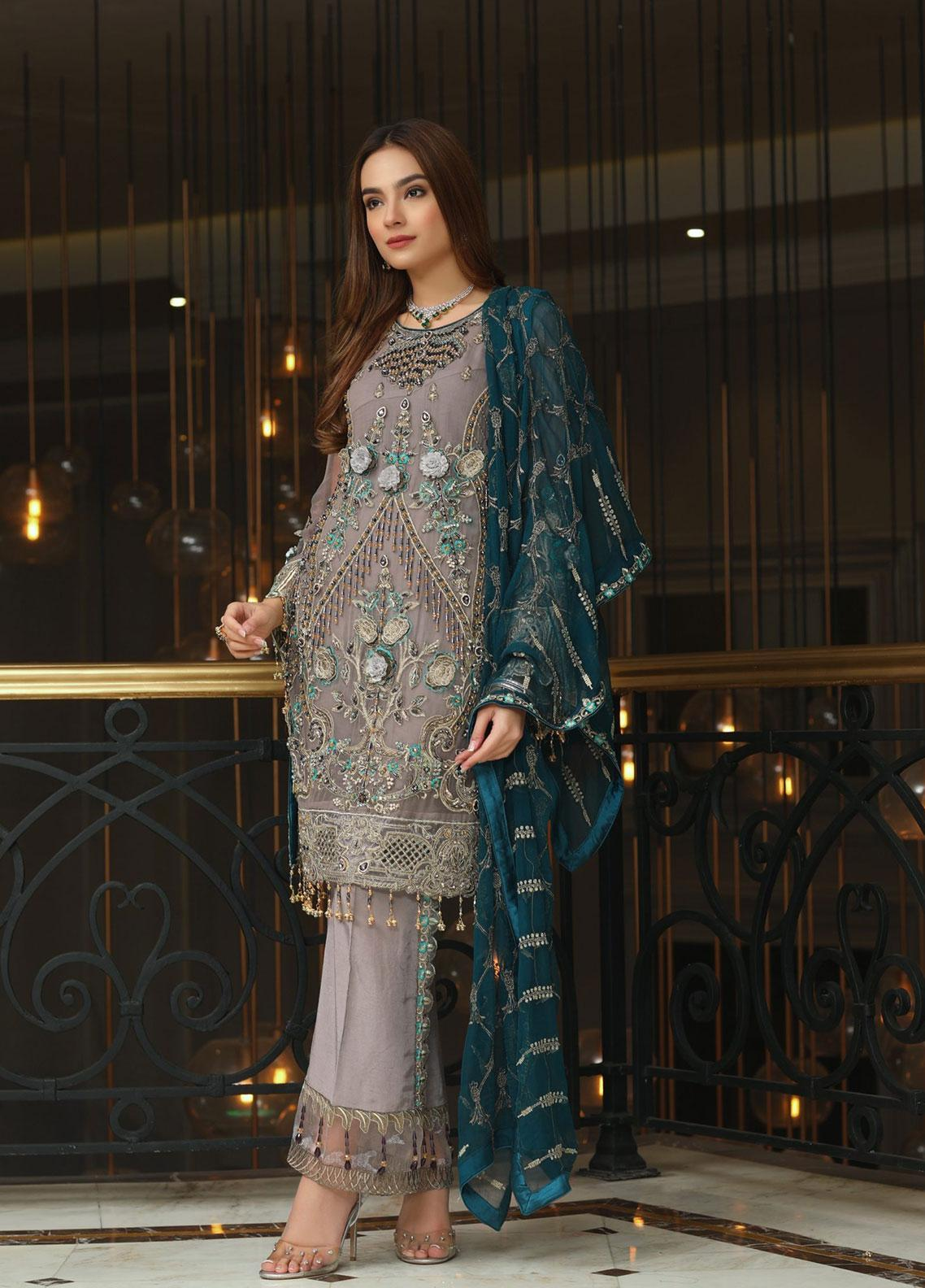 Areesha Embroidered Chiffon Unstitched 3 Piece Suit ARE20-C6 05 Grey Zink - Luxury Collection