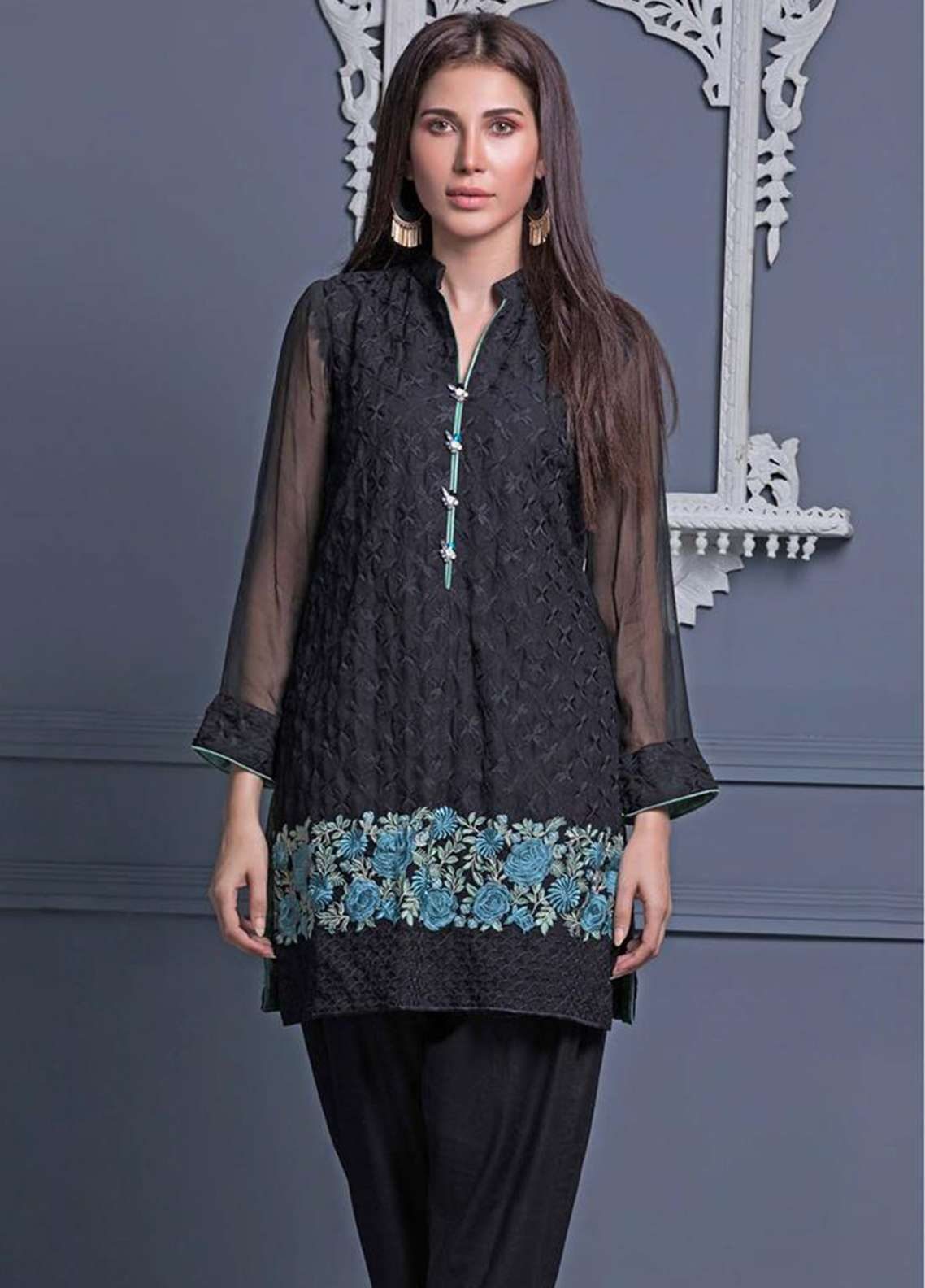 Areeba Saleem Embroidered Chiffon Unstitched Kurties AS18L 01 - Black & White Collection