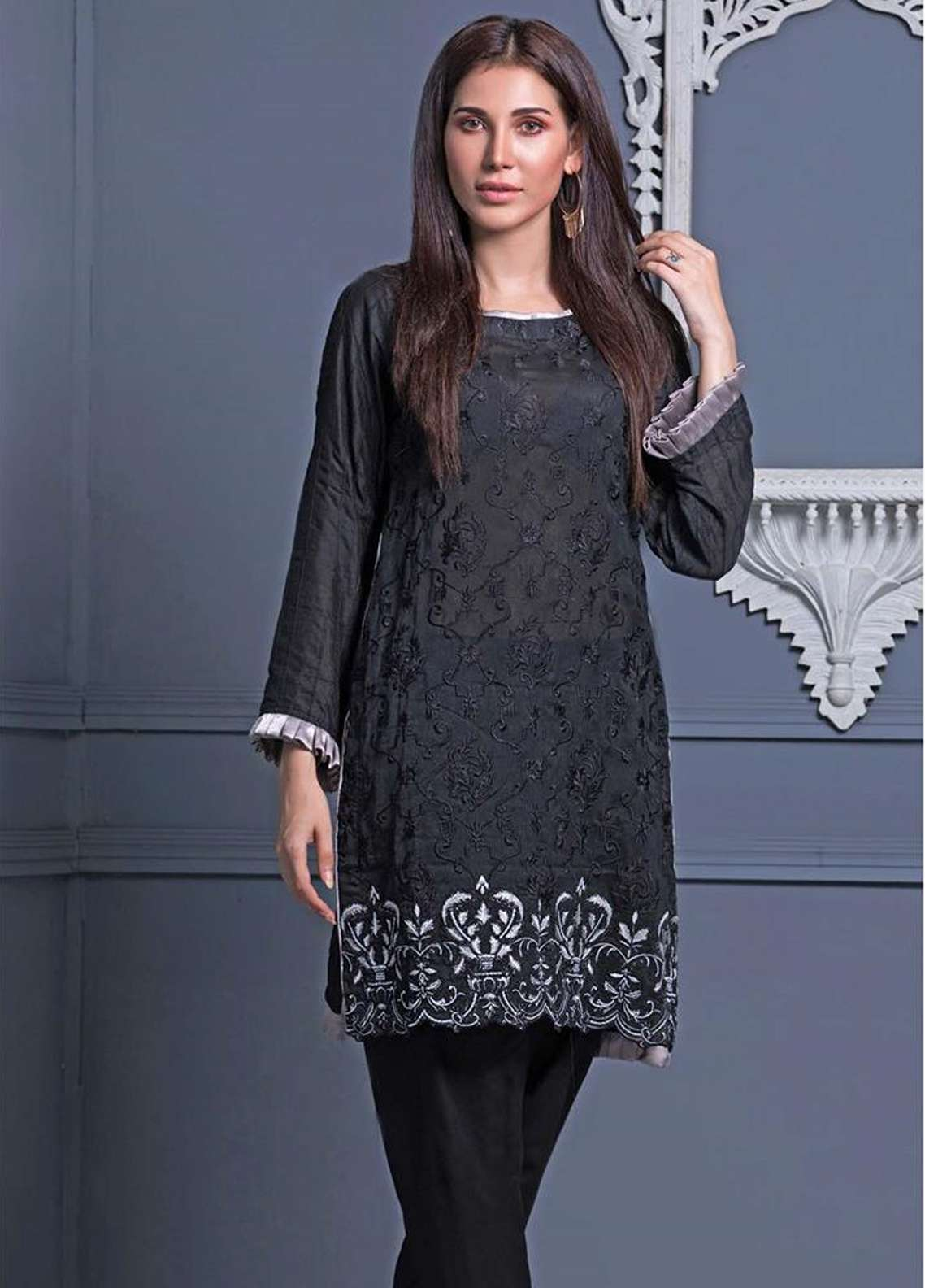 Areeba Saleem Embroidered Khaadi Net Unstitched Kurties AS18L 02 - Black & White Collection