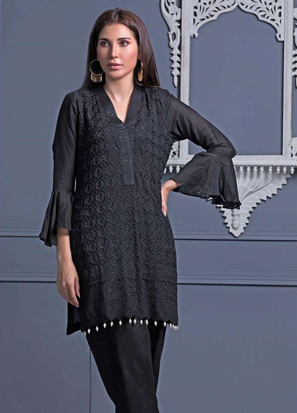 Areeba Saleem Embroidered Khaadi Net Unstitched Kurties AS18L 04 - Black & White Collection