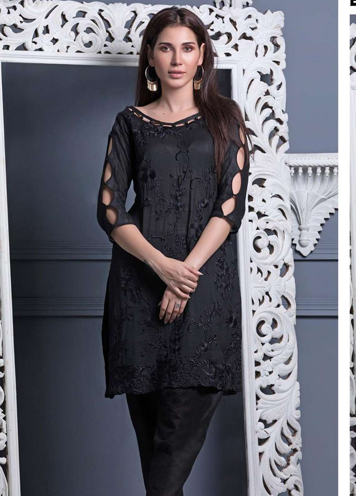 Areeba Saleem Embroidered Khaadi Net Unstitched Kurties AS18L 05 - Black & White Collection