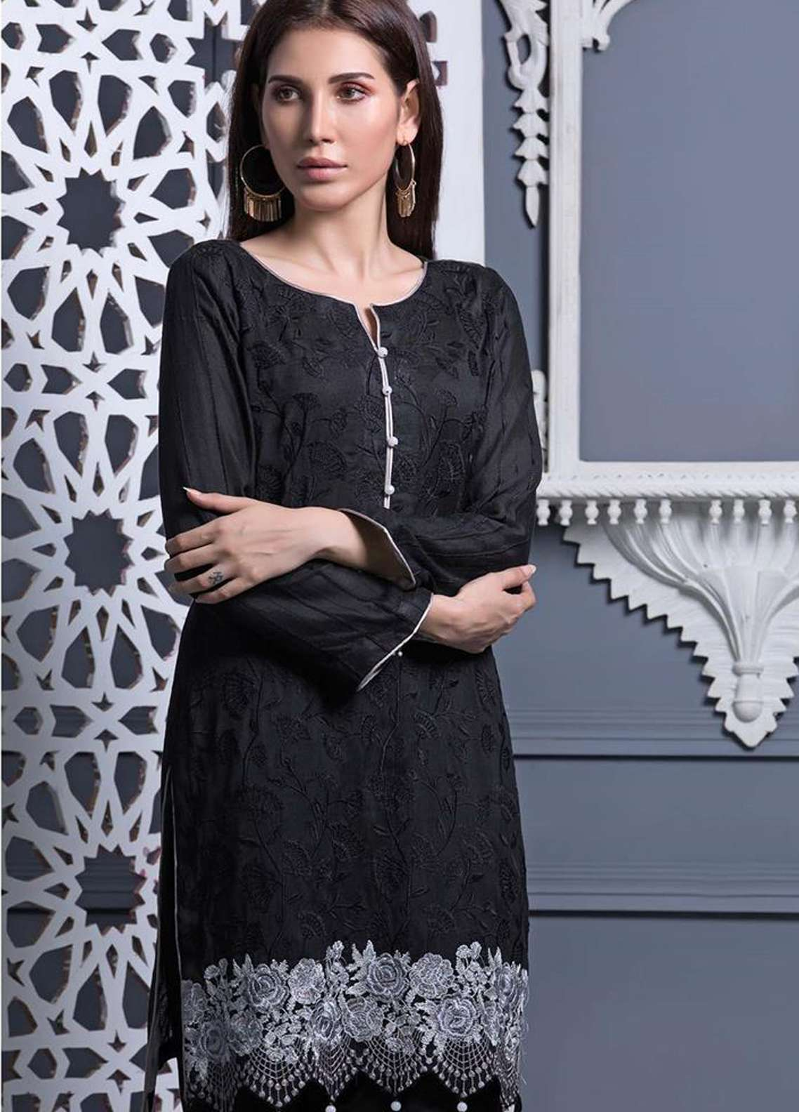 Areeba Saleem Embroidered Khaadi Net Unstitched Kurties AS18L 11 - Black & White Collection