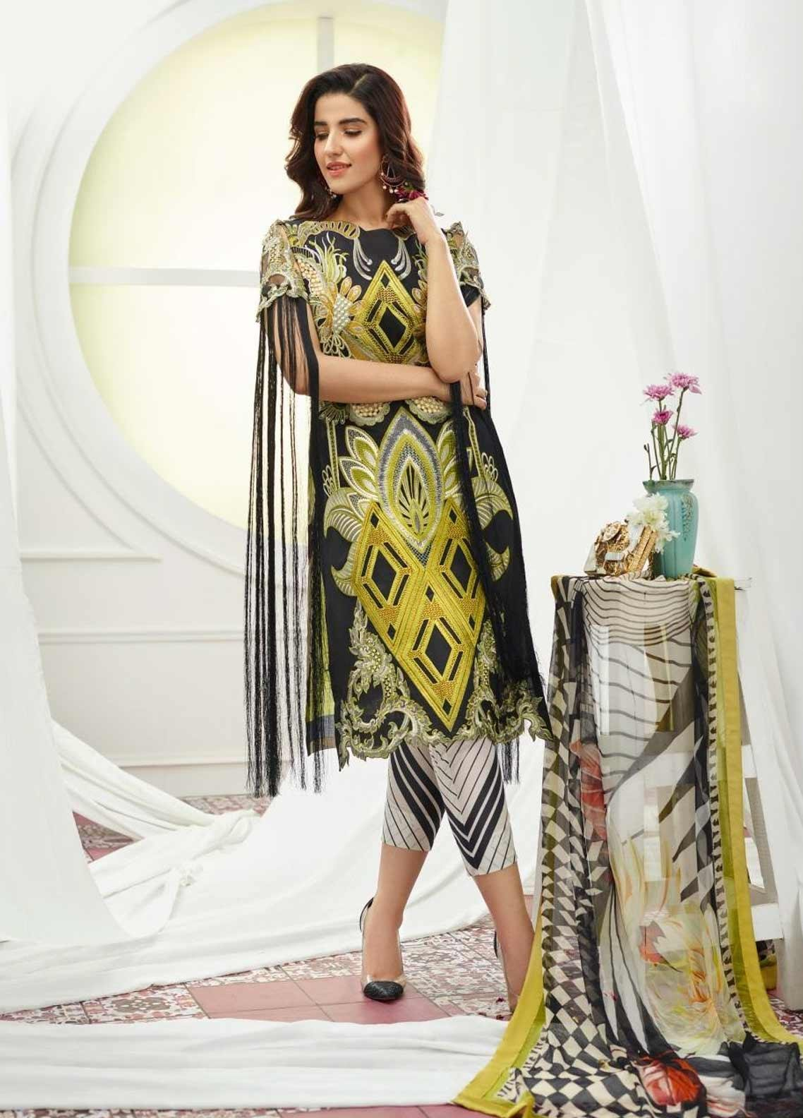 Asifa & Nabeel Embroidered Lawn Unstitched 3 Piece Suit AN19F 3M DIAMONDS - Festive Collection