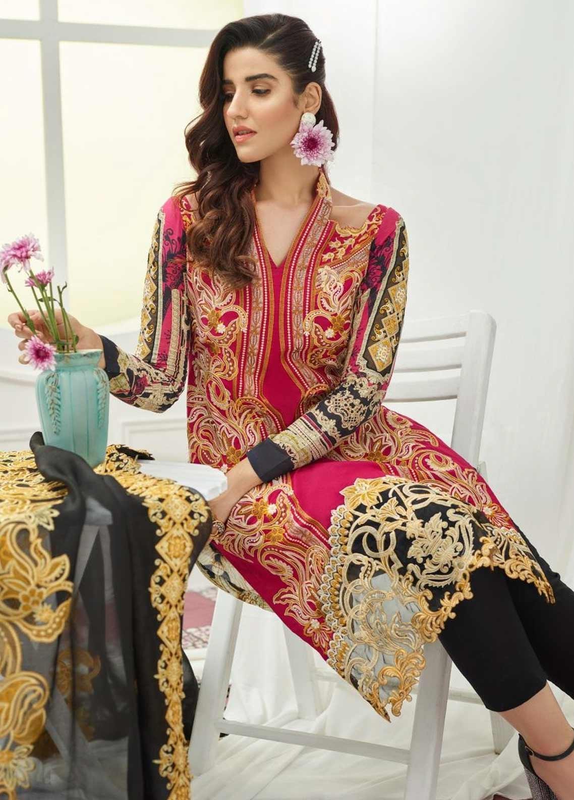 Asifa & Nabeel Embroidered Lawn Unstitched 3 Piece Suit AN19F 6G DELICACY - Festive Collection