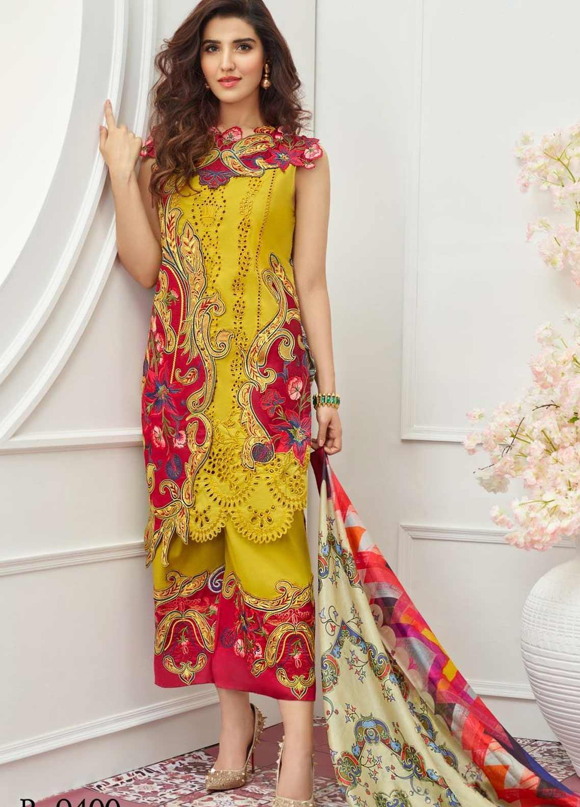 Asifa & Nabeel Embroidered Lawn Unstitched 3 Piece Suit AN19F 8M CHARMS - Festive Collection