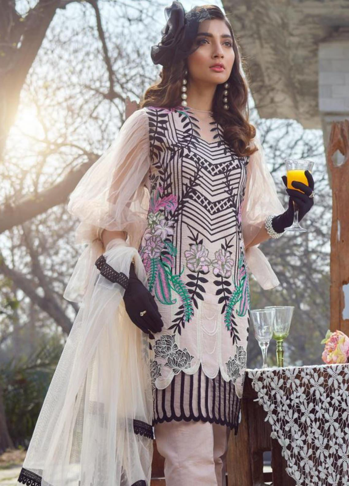 Asifa & Nabeel Embroidered Lawn Unstitched 3 Piece Suit AN20L Enchanted 01-A - Spring / Summer Collection