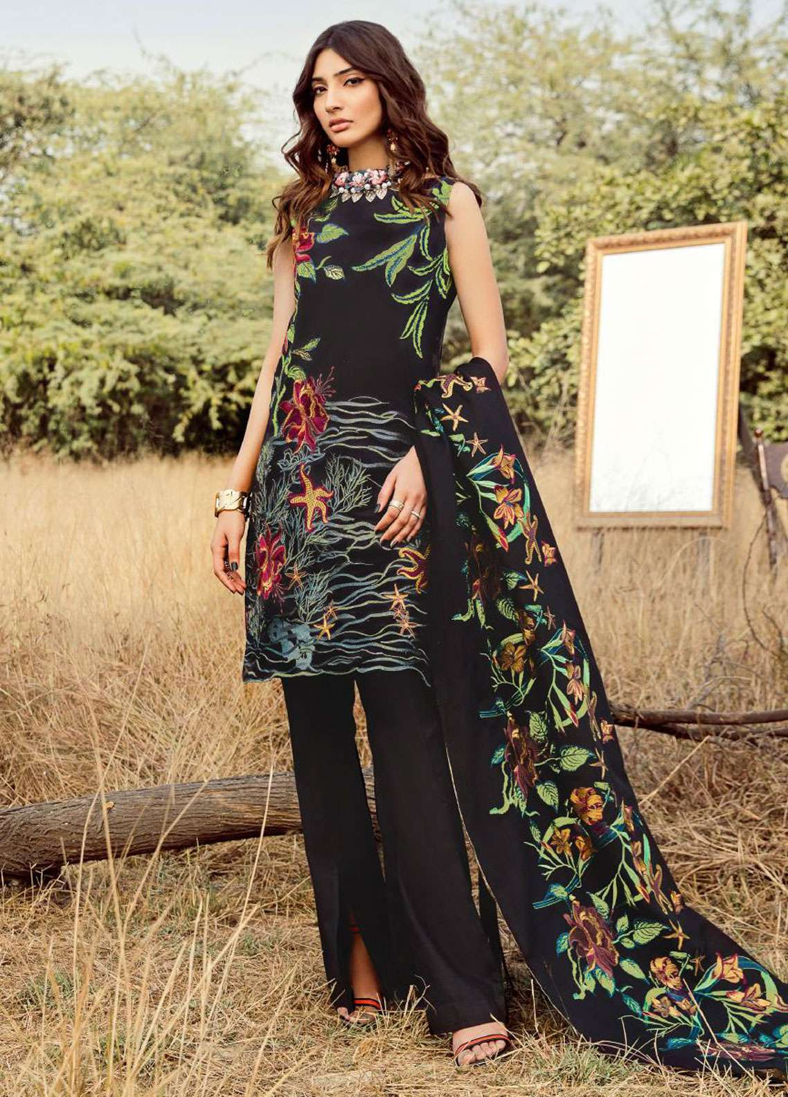 Asifa & Nabeel Embroidered Khaddar Unstitched 3 Piece Suit AN18W 56E Barren Lands - Winter Collection