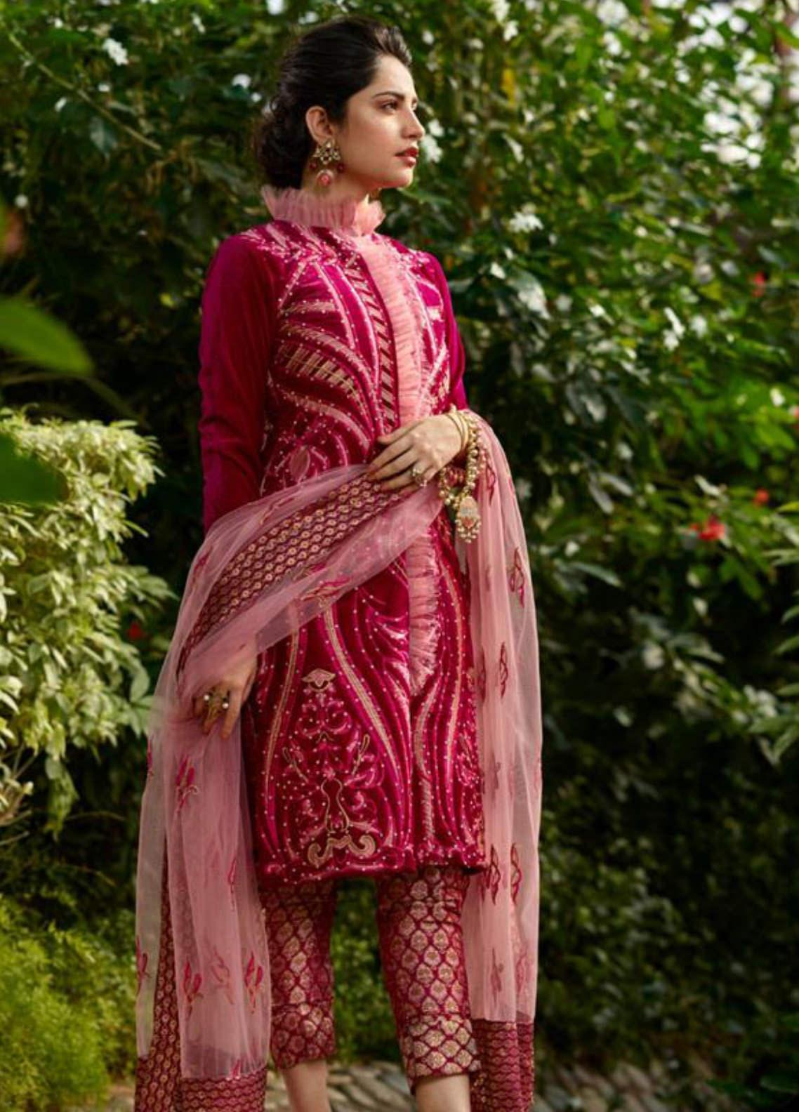 Asifa & Nabeel Embroidered Velvet Unstitched 3 Piece Suit AN19W 8A DHANAK - Winter Collection