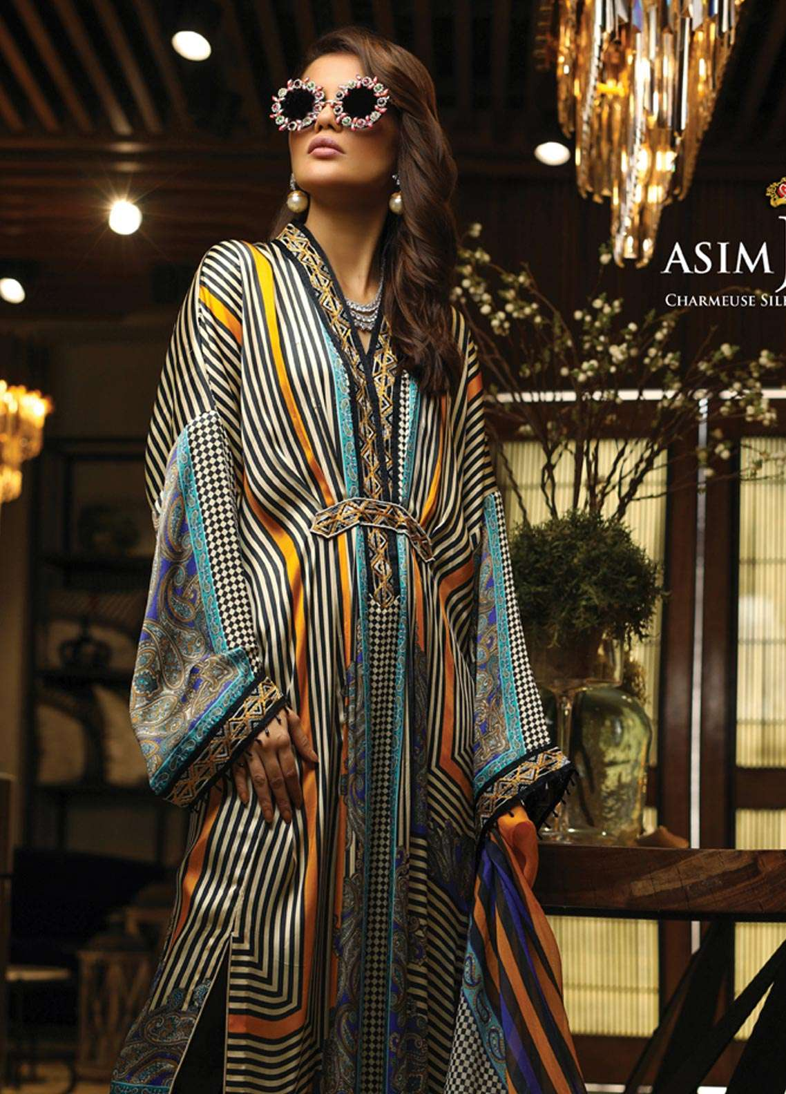 Asim Jofa Embroidered Charmeuse Unstitched 3 Piece Suit AJ18S 06 - Winter Luxury Collection
