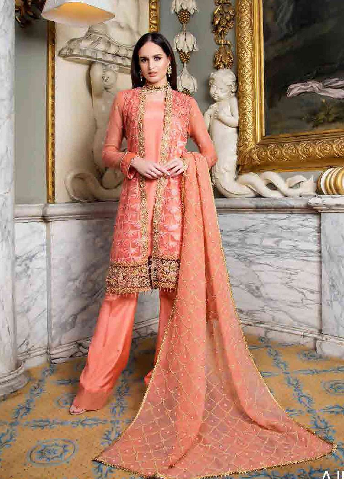 Asim Jofa Embroidered Chiffon Unstitched 3 Piece Suit AJ19F 2A - Festive Collection
