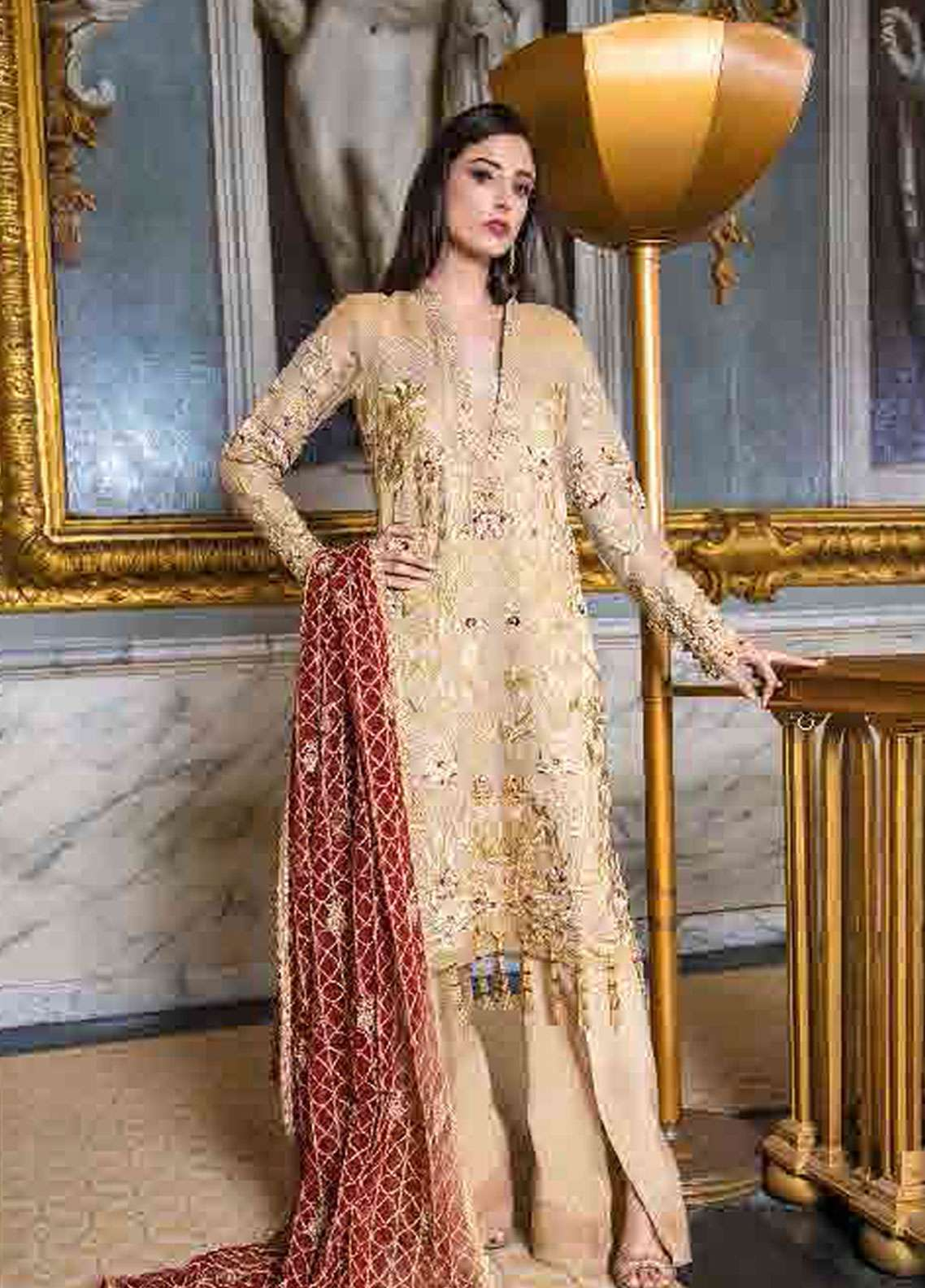 98347811e1 Asim Jofa Embroidered Chiffon Unstitched 3 Piece Suit AJ19F 5A - Festive  Collection