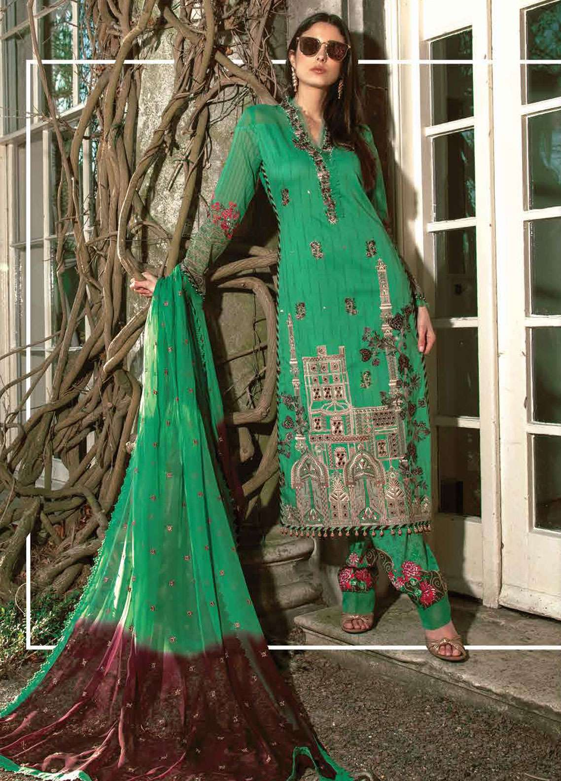 Asim Jofa Embroidered Lawn Unstitched 3 Piece Suit AJ19L 12B - Spring / Summer Collection