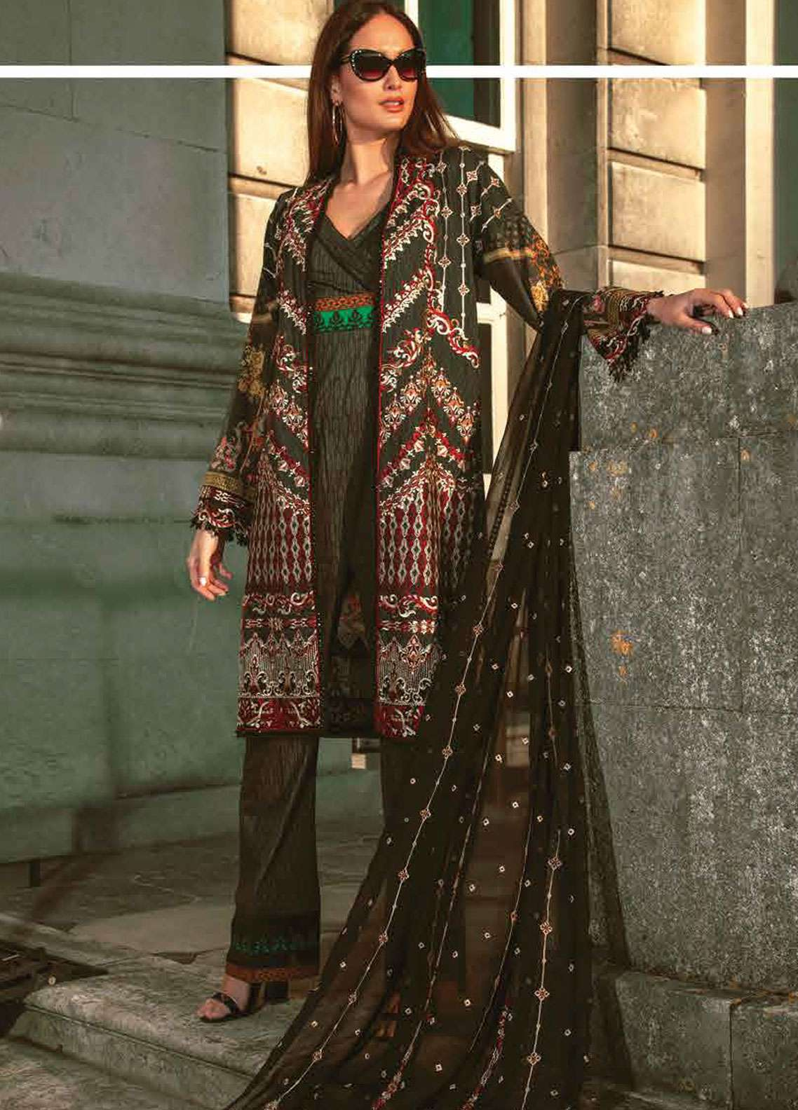 Asim Jofa Embroidered Lawn Unstitched 3 Piece Suit AJ19L 1B - Spring / Summer Collection