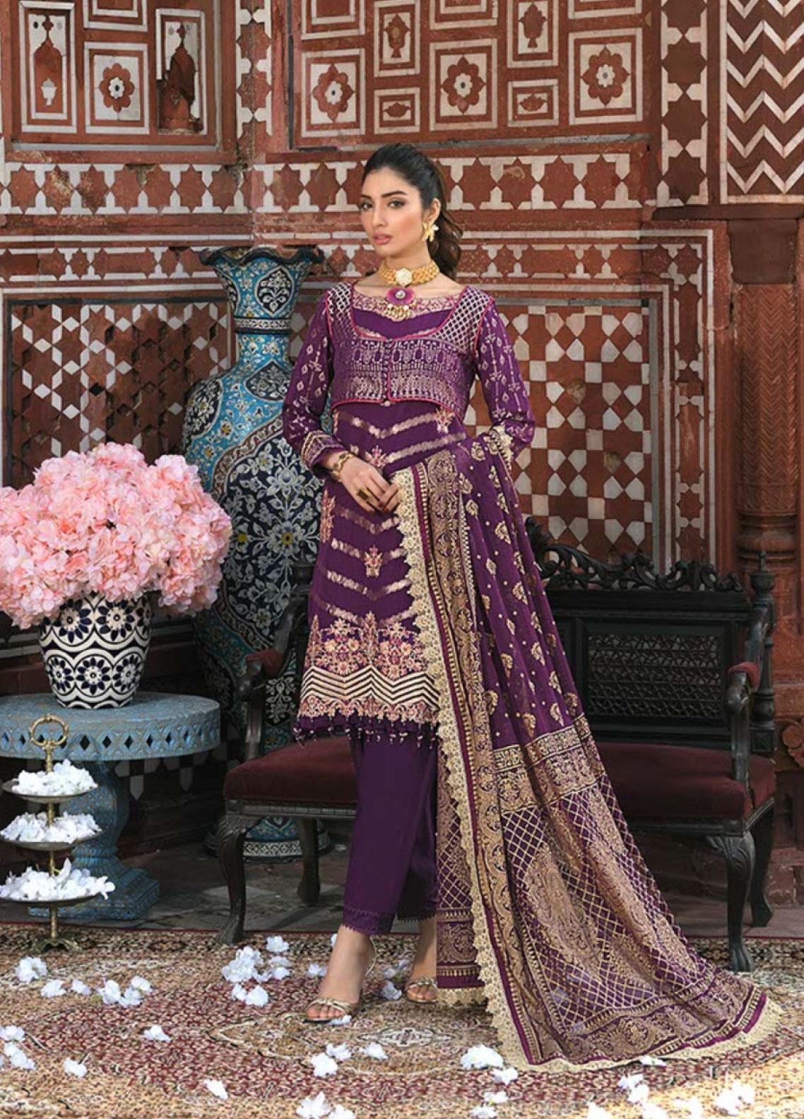 Asim Jofa Embroidered Lawn Unstitched 3 Piece Suit AJ20LL 9A - Luxury Collection