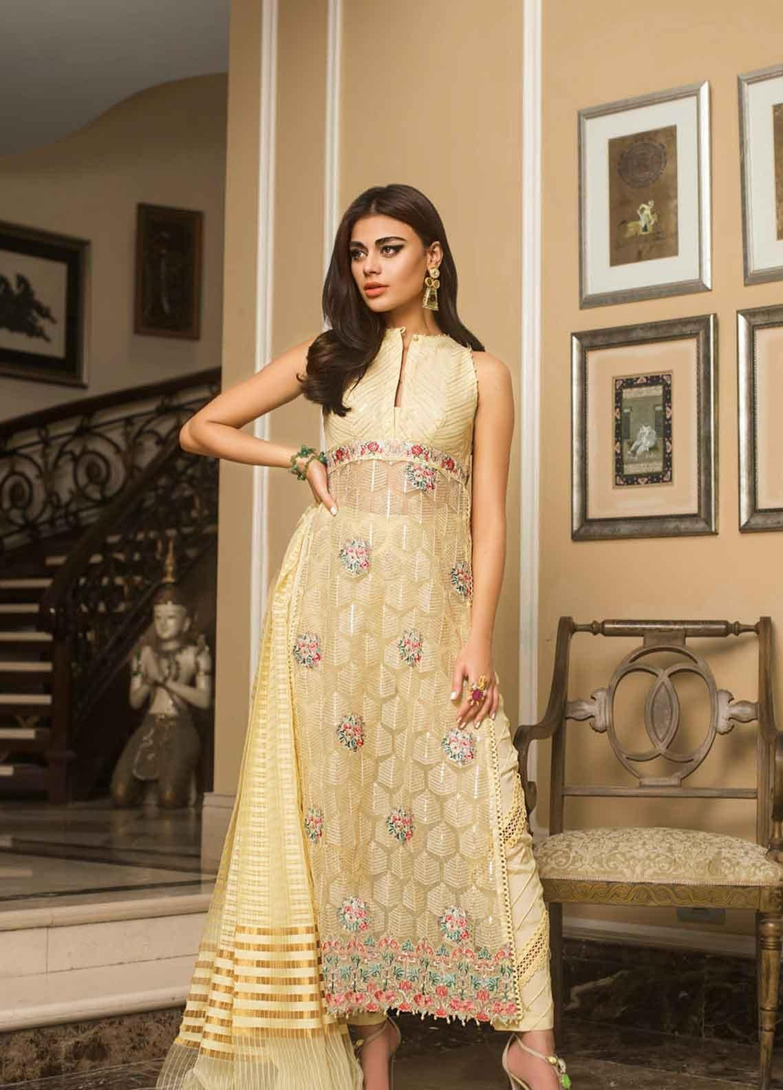 Asim Jofa Embroidered Organza Unstitched 3 Piece Suit AJ19O 7 - Luxury Collection