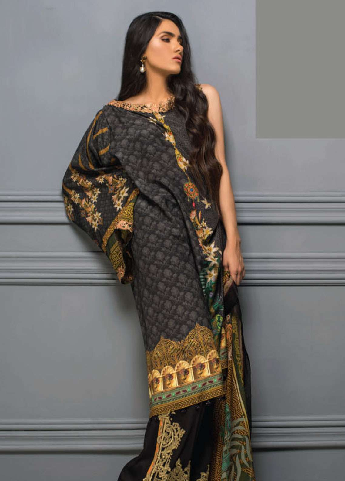 Asim Jofa Embroidered Raw Silk Unstitched 3 Piece Suit AJ18RS 03 - Luxury Collection