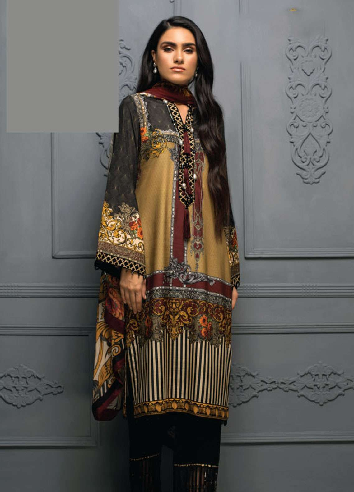 Asim Jofa Embroidered Raw Silk Unstitched 3 Piece Suit AJ18RS 06 - Luxury Collection