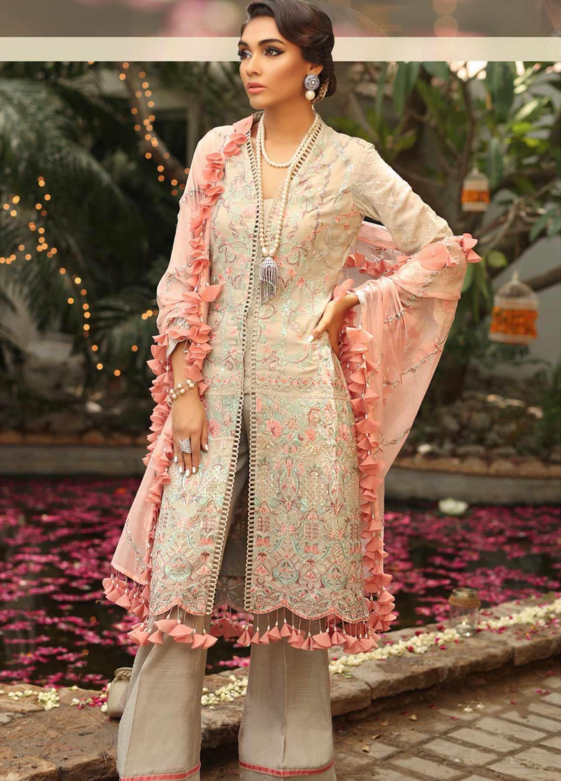 Asim Jofa Embroidered Cotton Net Unstitched 3 Piece Suit AJ19SE 1 - Festive Collection
