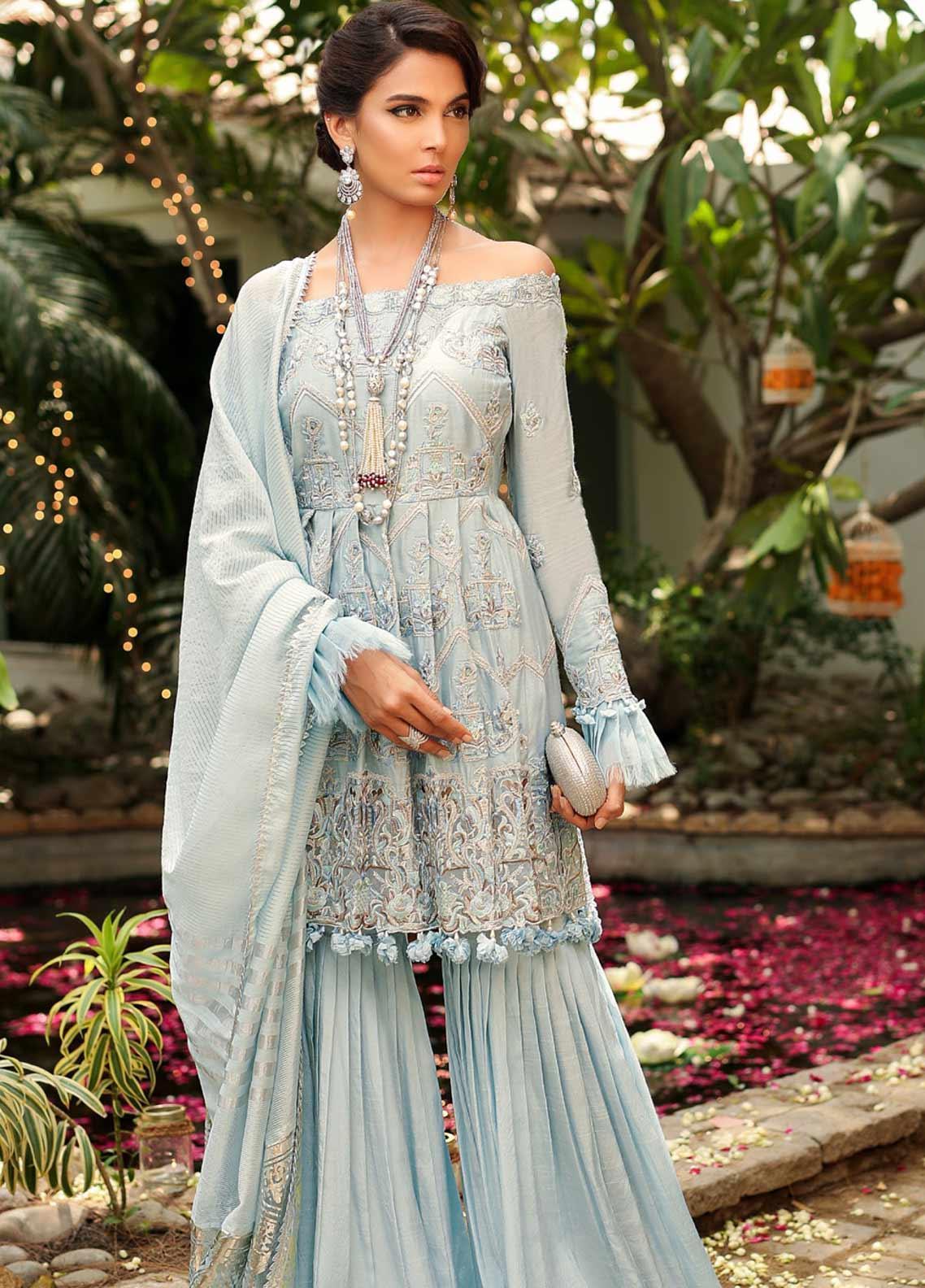 Asim Jofa Embroidered Cotton Net Unstitched 3 Piece Suit AJ19SE 2 - Festive Collection