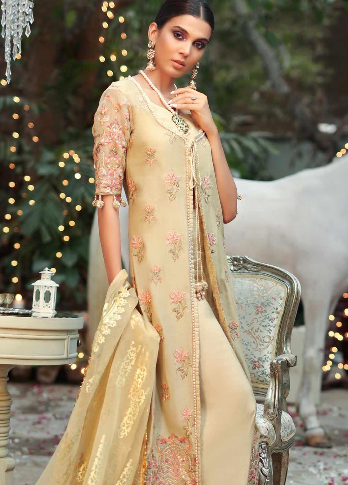 Asim Jofa Embroidered Cotton Net Unstitched 3 Piece Suit AJ19SE 8 - Festive Collection