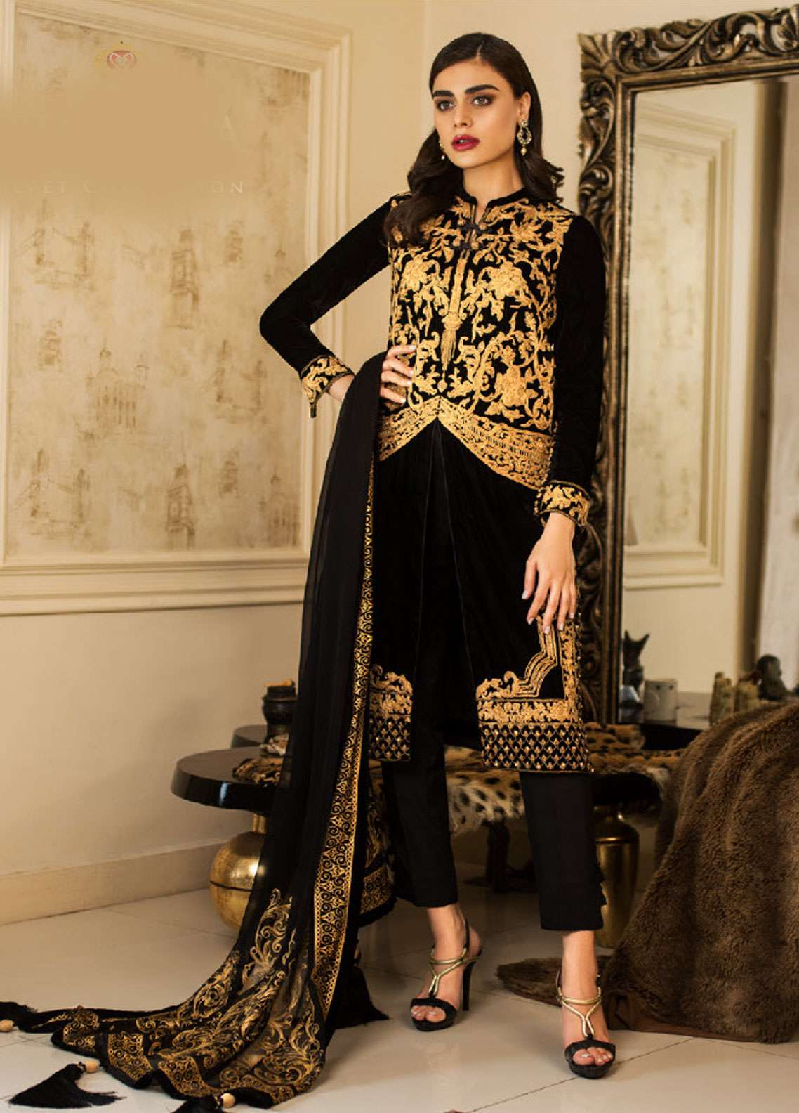 Asim Jofa Handwork Embroidered Velvet Unstitched 3 Piece Suit AJ18V 01 - Luxury Winter Collection