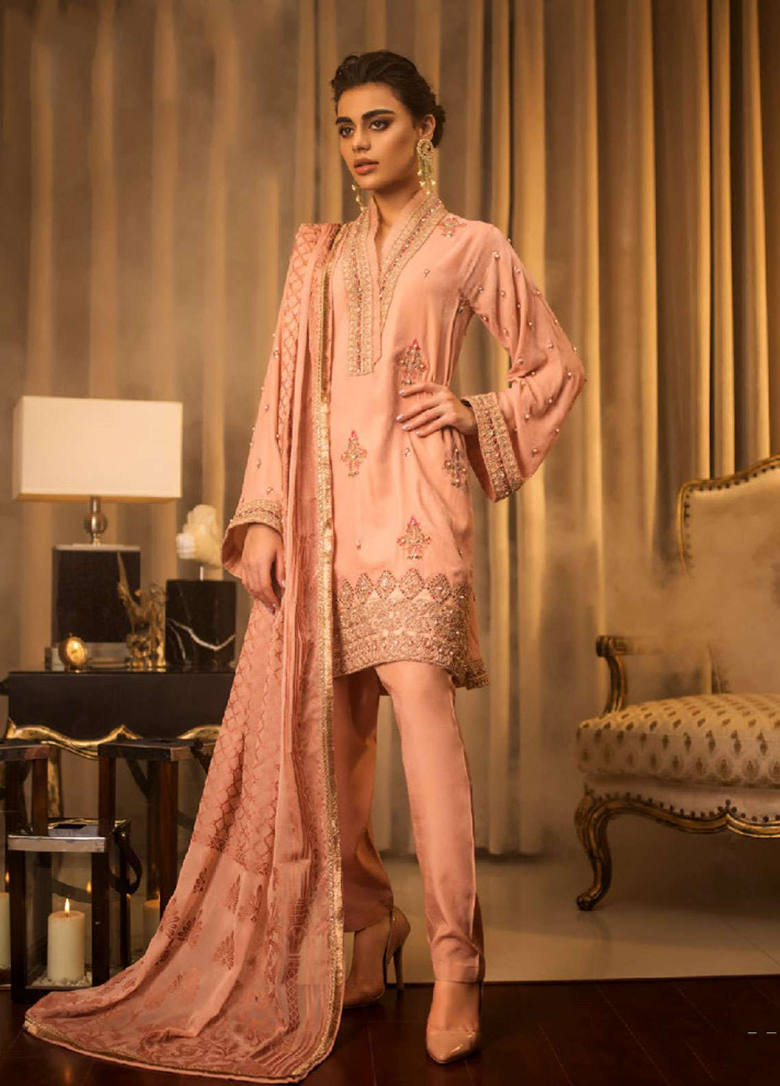 Asim Jofa Handwork Embroidered Velvet Unstitched 3 Piece Suit AJ18V 02 - Luxury Winter Collection