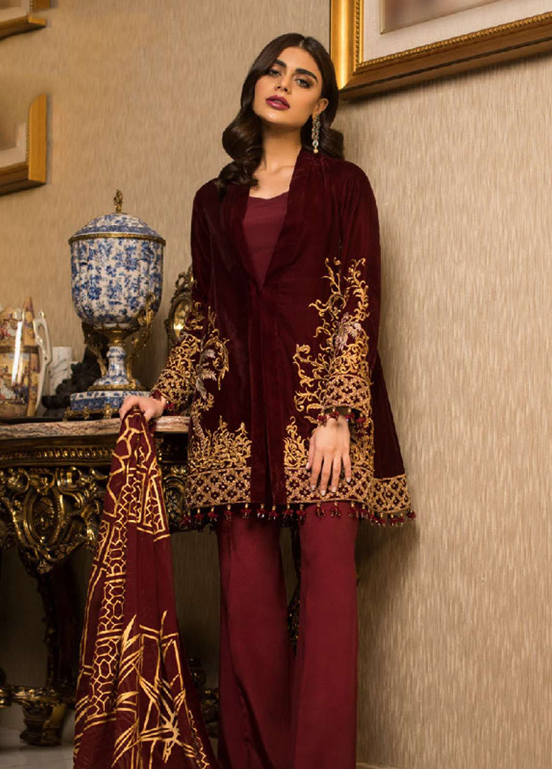 Asim Jofa Handwork Embroidered Velvet Unstitched 3 Piece Suit AJ18V 03 - Luxury Winter Collection