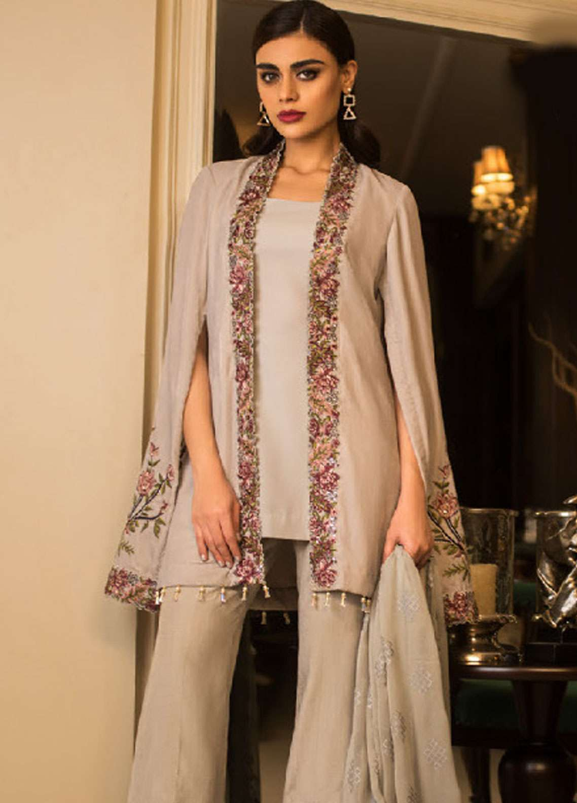 Asim Jofa Handwork Embroidered Velvet Unstitched 3 Piece Suit AJ18V 06 - Luxury Winter Collection