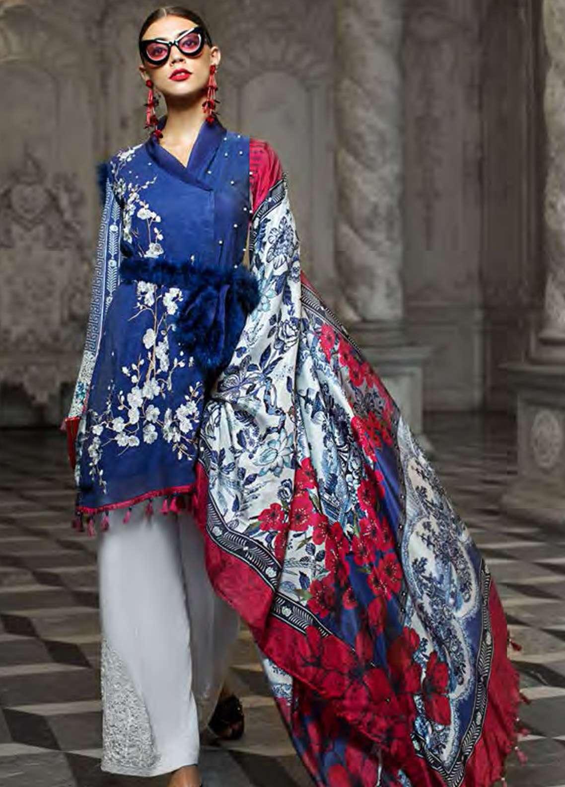 AUJ Embroidered Cotton Net Unstitched 3 Piece Suit AUJ18F 05 - Eid Collection