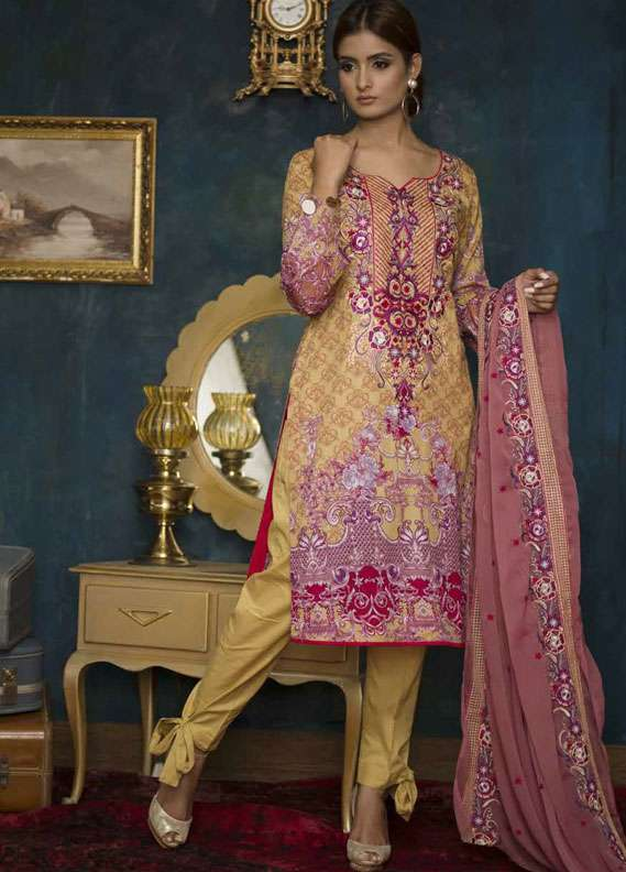 Ayesha Chottani Embroidered Lawn Unstitched 3 Piece Suit AYC18L ST-10B - Spring / Summer Collection