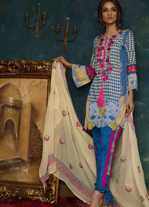 Ayesha Chottani Embroidered Lawn Unstitched 3 Piece Suit AYC18L ST-2B - Spring / Summer Collection