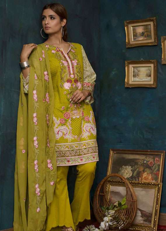 Ayesha Chottani Embroidered Lawn Unstitched 3 Piece Suit AYC18L ST-4B - Spring / Summer Collection