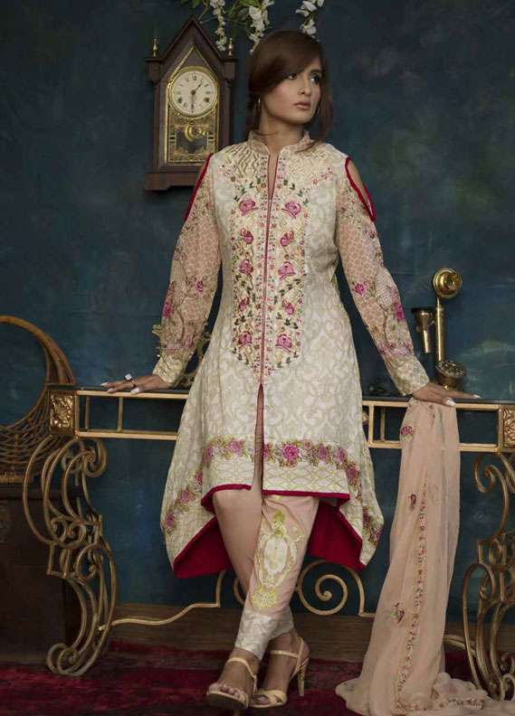Ayesha Chottani Embroidered Lawn Unstitched 3 Piece Suit AYC18L ST-5B - Spring / Summer Collection