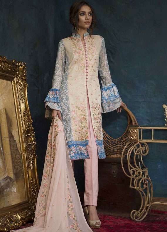 Ayesha Chottani Embroidered Lawn Unstitched 3 Piece Suit AYC18L ST-6A - Spring / Summer Collection