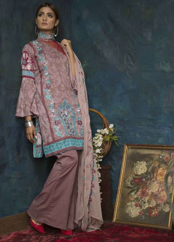 Ayesha Chottani Embroidered Lawn Unstitched 3 Piece Suit AYC18L ST-7B - Spring / Summer Collection