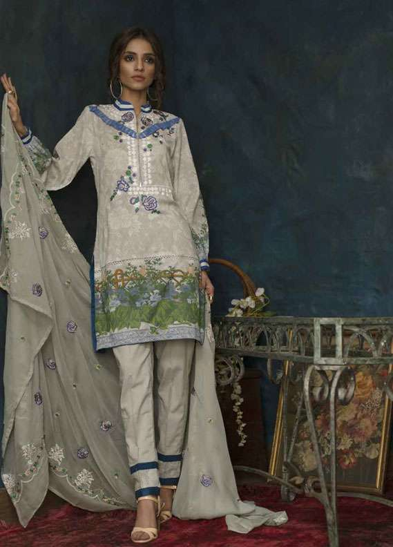 Ayesha Chottani Embroidered Lawn Unstitched 3 Piece Suit AYC18L ST-8A - Spring / Summer Collection