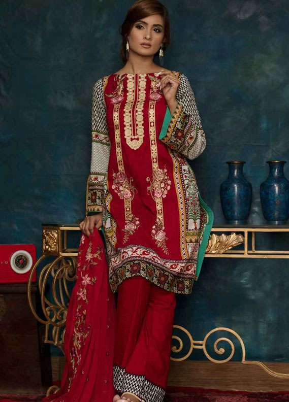 Ayesha Chottani Embroidered Lawn Unstitched 3 Piece Suit AYC18L ST-9B - Spring / Summer Collection